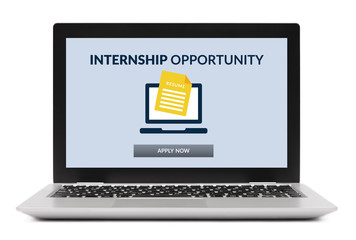 Internship concept on laptop computer screen isolated on white