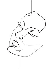 Photo on textile frame One Line Art Serene Female Face One Single Continuous Line Vector Graphic Illustration