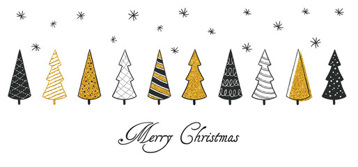 New Year and Christmas greeting cards. Flat design black and gold modern christmas tree vector illustrations.