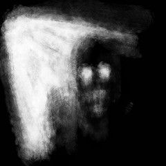 Scary darkly monster face with shining eyes in light. Black and white illustration in horror genre with coal and noise effect