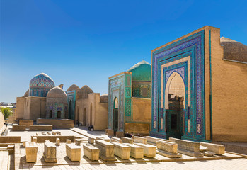 View of the monument of medieval architecture Shahi Zinda-ensemble of mausoleums Karakhanid and Timurid nobility. Samarkand, Uzbekistan