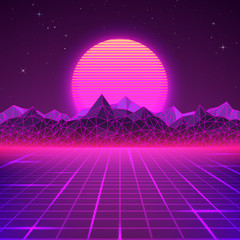 Retro landscape in purple colors. Futuristic planet neon mountains and sunset background. Sci-fi abstract geometric landscape. Vector