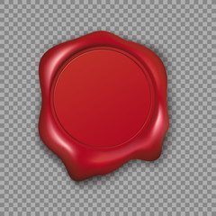 Red wax seal. Vector Illustration isolated on transparent background