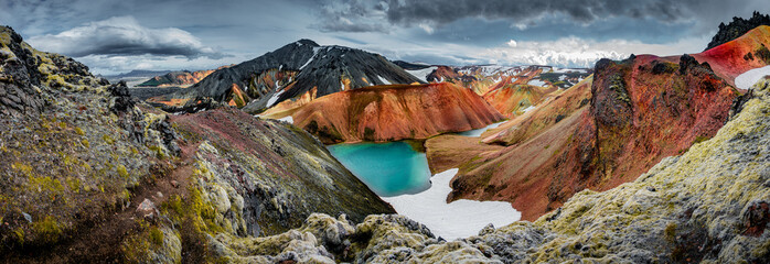 Foto op Aluminium Natuur Panoramic view of colorful rhyolite volcanic mountains Landmannalaugar as pure wilderness in Iceland and a hidden highland lake, Iceland
