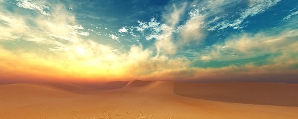 Desert at sunset, Sunrise in the sand. 3d rendering.