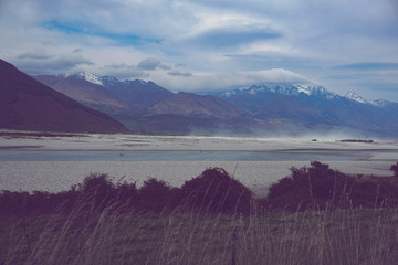 Fotobehang Aubergine Glenorchy New Zealand lake and mountais nature snow