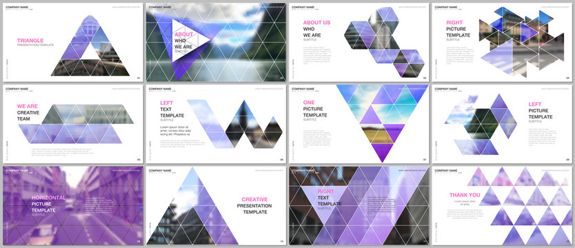 Minimal presentations design, portfolio vector templates with triangular design background, triangle style pattern. Multipurpose template for presentation slide, flyer leaflet, brochure cover, report.