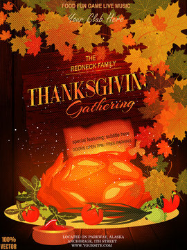 Thanksgiving poster greeting card with traditional food, leaves and fried turkey decoration on wooden background. Vector EPS 10. To see similar, please VISIT MY PORTFOLIO.