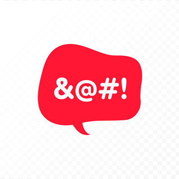 Vector color bad speech language icon illustration. Red talk bubble with censored text isolated on transparent background. Design element for hate banner, poster, web, meme, logo