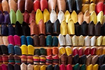 Acrylic Prints Morocco colorful shoes for sale at the market, Fez, Morocco