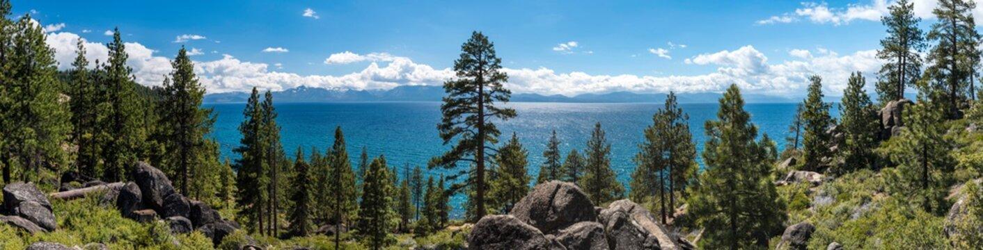 Lake Tahoe in famous California mountains National Park Sierra Nevada