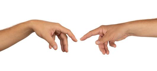 Human hands pulling one to another isolated on white