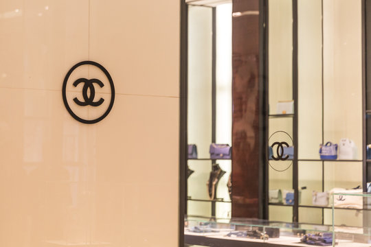 LAS VEGAS, NEVADA, USA - 13 MAY, 2019: Chanel logo in store in Wynn hotel in Las Vegas. Chanel is a high fashion house, specializes in clothes and luxury goods