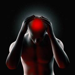 Mann mit Migräne Kopfschmerzen 3D Render Darstellung