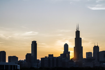 Wall Mural - Chicago skyline at dusk