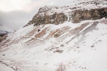 Bernina, Alp Grüm, Gletscher, Palü Gletscher, Piz Palü, Piz Varuna, Piz Canton, Alpen, Graubünden, Wanderweg, Berninapass, Val Poschiavo, Winter, Schweiz