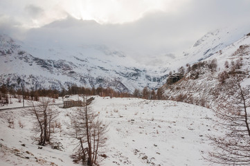 Bernina, Alp Grüm, Gletscher, Palü Gletscher, Piz Palü, Piz Varuna, Piz Canton, Alpen, Bernina-Express,  Graubünden, Wanderweg, Berninapass, Val Poschiavo, Winter, Schweiz