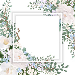 Beautiful background with flowers Peony and Roses. Wedding invitation , watercolor, isolated on white.  Vector illustration. EPS 10