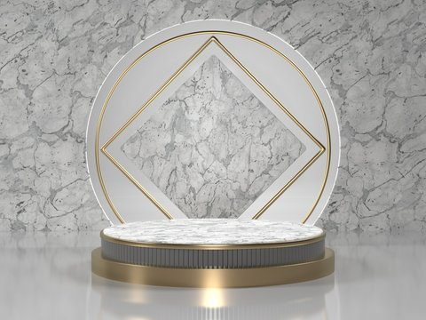 3d render image of white marble podium luxury background for cosmetic or another product.