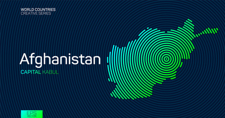 Abstract map of Afghanistan with circle lines