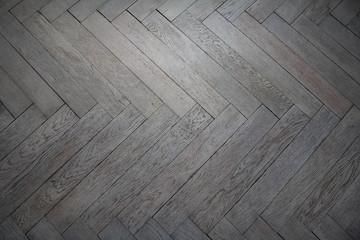 Obraz Old gray wooden parquet floor - fototapety do salonu