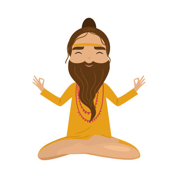 Meditating old yogi man in yellow clothes sitting in a lotus position. Vector illustration in flat cartoon style.