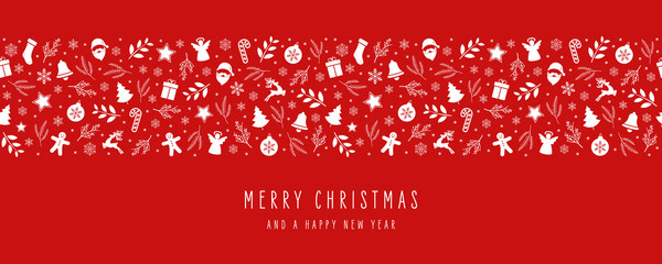 Wall Mural - Christmas icon elements border decoration card with greeting text seamless pattern red background.