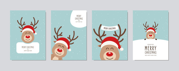 Christmas card set. Merry Christmas and Happy New Year greeting cute red nose cartoon reindeer with santa hat lettering vector.
