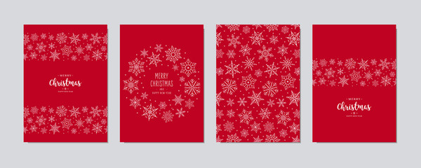 Christmas card set. Merry Christmas greeting text lettering snowflake card set red background vector. Fotomurales