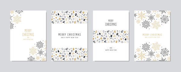Wall Mural - Christmas card set. Merry Christmas icon greeting text lettering card set white background vector.