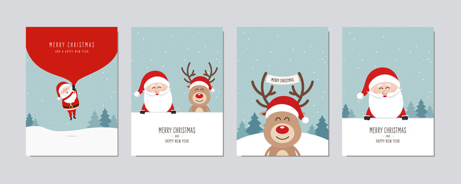 Christmas card set. Merry Christmas and Happy New Year greeting cute santa and red nose reindeer cartoon lettering vector.