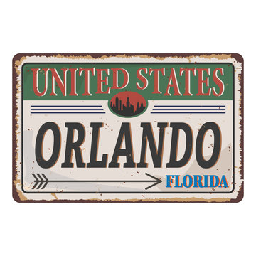 Welcome to Orlando vintage rusty metal sign on a white background, vector illustration