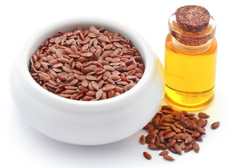 Flax seeds and oil in a jar