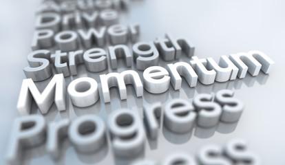 Momentum Strength Progress Toward Goal Words 3d Illustration