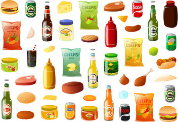 Vector illustration of various bbq food items, pantray staples and ingredients