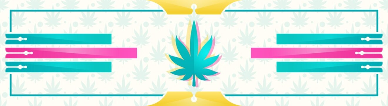 Abstract banner with marijuana leaf