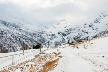 Bernina, Alp Grüm, Gletscher, Palü Gletscher, Piz Palü, Piz Varuna, Piz Canton, Alpen, Graubünden, Bernina-Express, Berninapass, Val Poschiavo, Winter, Schweiz