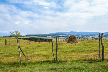 When the fence posts sprout - an old-fashioned hay stack surrounded by barbed wire held up by cup saplings with some sprouting - farmland and mountains in the distance - Eastern Europe