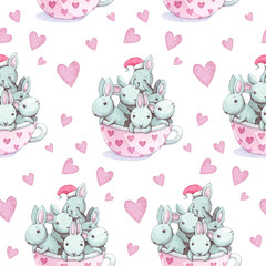 Cute baby rabbit animal seamless pattern. Watercolor illustration for children clothing. Hand drawn bunnies image for cases design, nursery posters, postcards