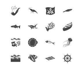 Nature icon set and fish bone with cetacean, ship rudder and canoe. Fillet related nature icon vector for web UI logo design.