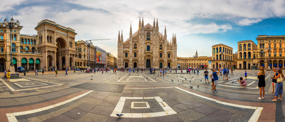 Cathedral Duomo di Milano and Vittorio Emanuele gallery in Square Piazza Duomo at sunrise, Milan, Italy, Europe