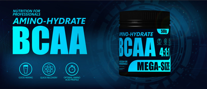BCAA container with hi-tech background. New formula, Set of branched chain amino acids. Sport nutrition BCAA. 3D realistic mockup. Vector illustration product packaging