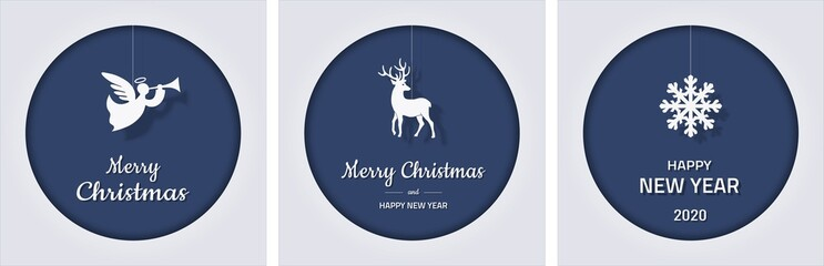 set of square Christmas and new year greeting cards with snowflake, angel and deer on blue background