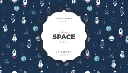 Estores personalizados infantiles con tu foto Space exploration creative background design with Planets, Astronaut, Rocket, Comet and Stars in cosmos. Cute blue color template for website page or banner vector illustration