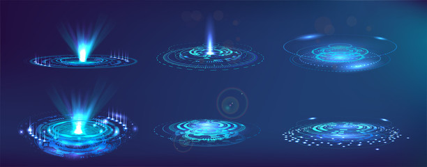 Futuristic elements FUI, GUI, HUD. Set abstract circle hi-tech. Projector, hologram UI elements virtual reality. Sci-fi interface. Vector set Futuristic User Interface. Sky-fi collection.
