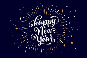 Happy New Year. Lettering text for Happy New Year Fotomurales
