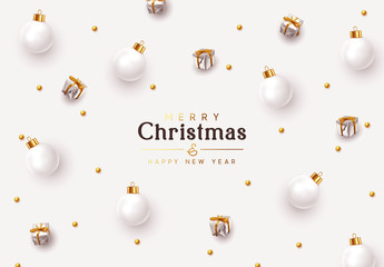 Fotomurales - Christmas background. Xmas design decorative ornaments, white bauble balls, silver gift boxes, gold round beads. New Year's pattern of decorative realistic objects. Festive light composition