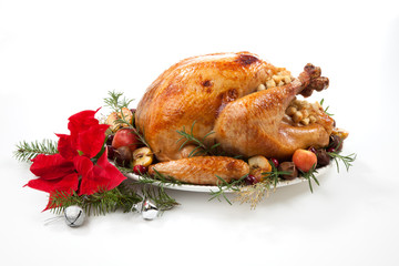Christmas Roasted Turkey with Grab Apples over white