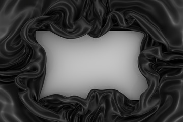 Abstract black wavy satin or silk fabric with folds on the sides and a white rectangular card in the center. 3d rendering image.