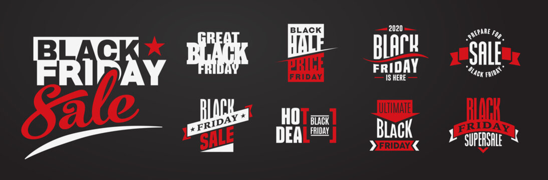 Black Friday sale flat logo design elements set on black background